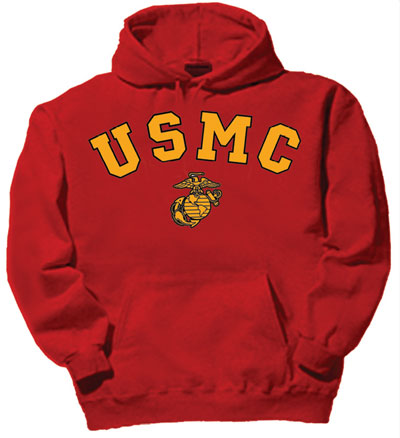 USMC (Marines) Red Hooded Sweatshirt