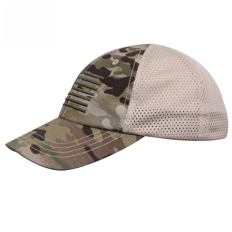 Tactical Mesh Back Cap With Embroidered US Flag | Multicam