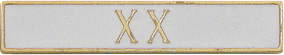 X X Roman 20 Years of Service White Citation Bar