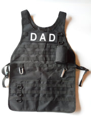 TACTICAL BBQ APRON (comes with chef, mom and dad velcro patch option)
