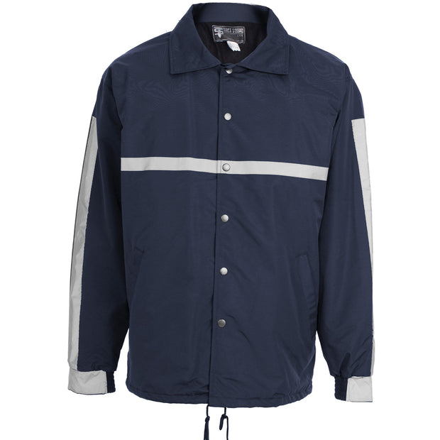 Lined Raid Style Jacket with Reflective Striping in Navy