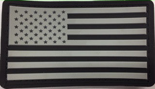 American Flag Patch Velcro | Grey and Black Rubber