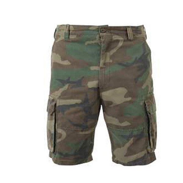 Vintage Wash Cargo Short | Woodland Camo