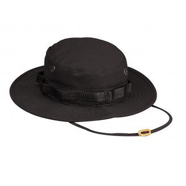 100% Cotton Rip-Stop Boonie Hat | Black - BLACK