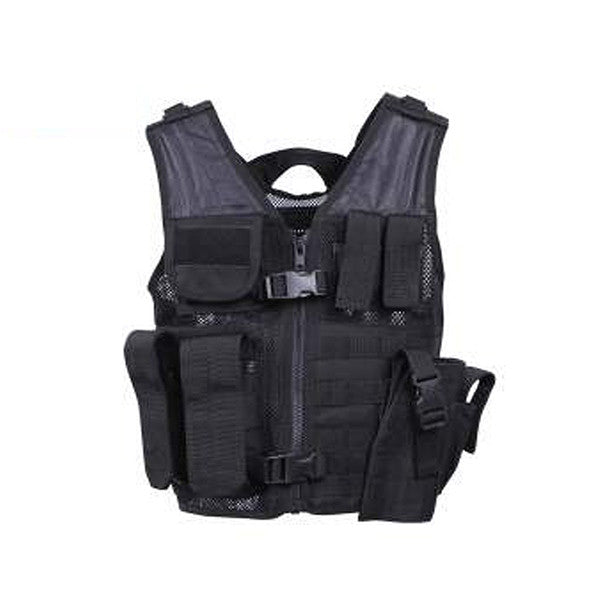 Kid's Tactical Cross Draw Vest | Black - BLACK