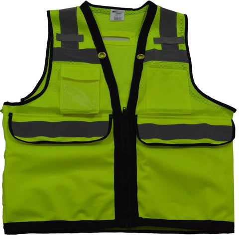 Class 2 Deluxe 8-Pocket High Visibility Heavy Duty Surveyors Safety Vest | Lime/Black