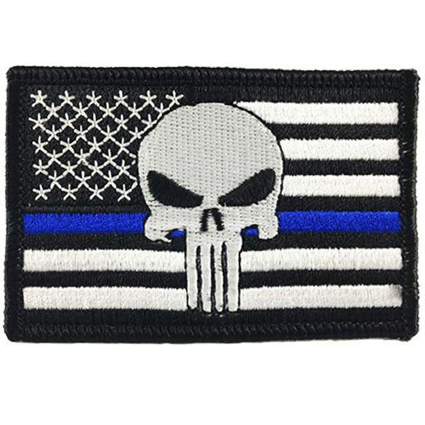 Punisher Skull Thin Blue Line Flag Patch | Velcro