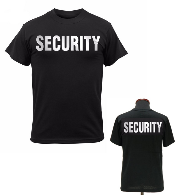 2 Sided Reflective Security T-Shirt | Black