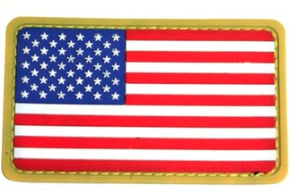 American Flag Patch Velcro | Rubber | Gold Trim