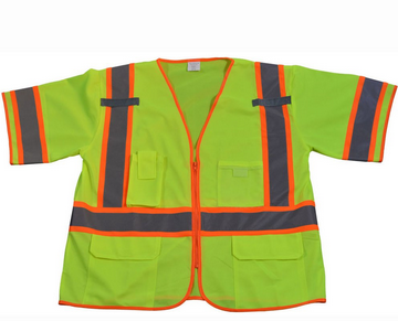 Hi Vis Class 3 Two Tone DOT Surveyors Safety Vest, Deluxe
