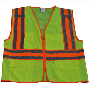Hi Vis Class 2 Solid Front Mesh Back Two Tone DOT Surveyors Vest
