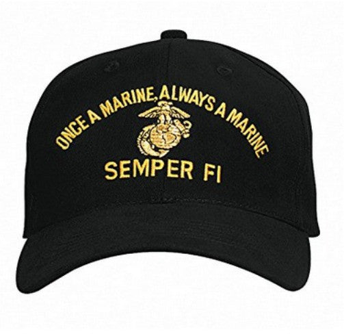 Low Profile Insignia Hat | Once a Marine Always a Marine Semper FI | Black