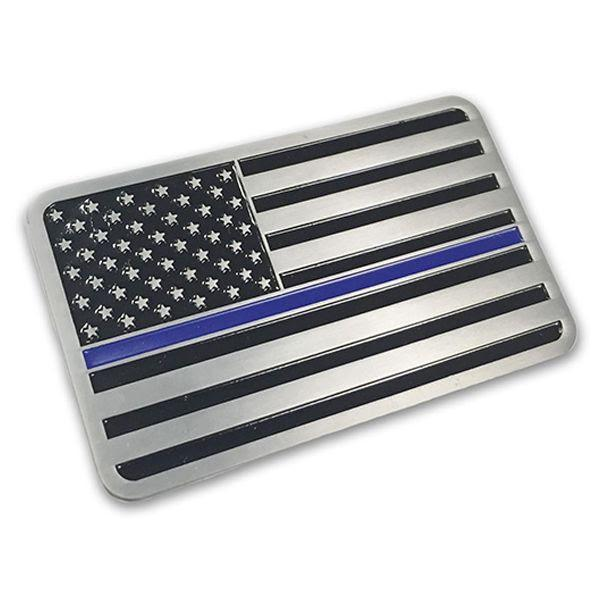Thin Blue Line American Flag Vehicle Emblem | Chrome