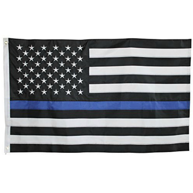 Thin Blue Line Embroidered Double Sided American Flag