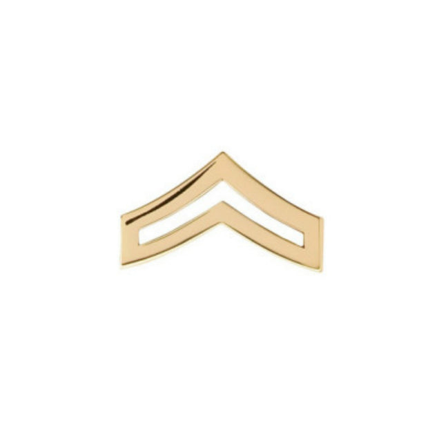 Corporal Chevron Collar Insignia | Small | Gold or Silver