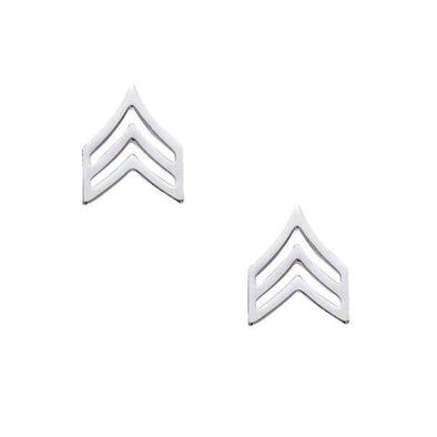 Sergeant Chevron Collar Insignia | Small | Gold or Silver