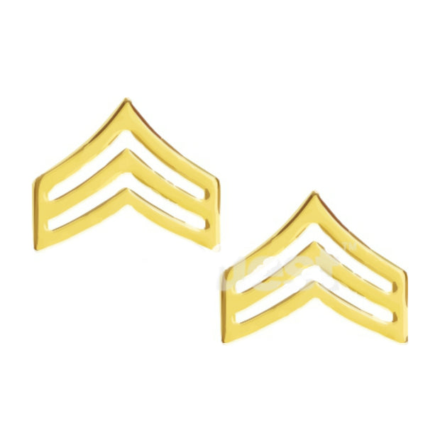 Sergeant Chevron Collar Insignia | Medium | Gold or Silver