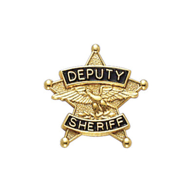 5Pt Star Deputy Sheriff Tie Tac Collar Insignia | Gold or Silver
