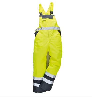 HI Vis Contrast Insulated Waterproof Bib Overall Lined