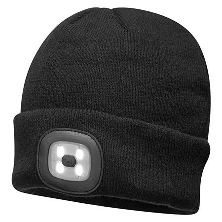 LED Head Light Knit Beanie - Rechargeable | Black or Hi-Vis
