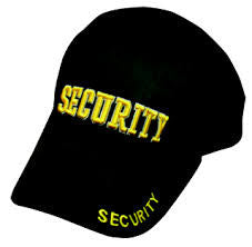 Security Stretchable Cap (3D - Gold Letters) | Navy