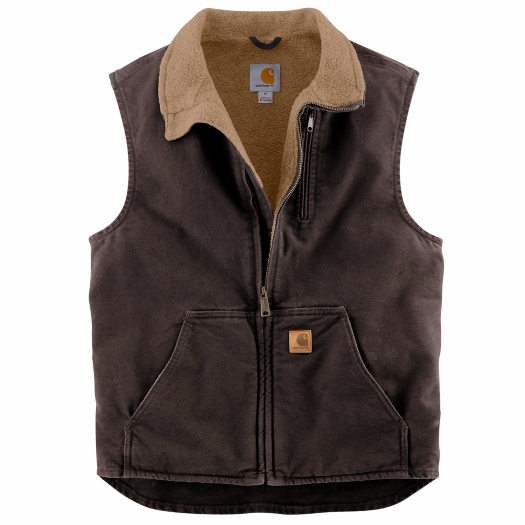 Mock Neck Sherpa Lined Vest | Dark Brown