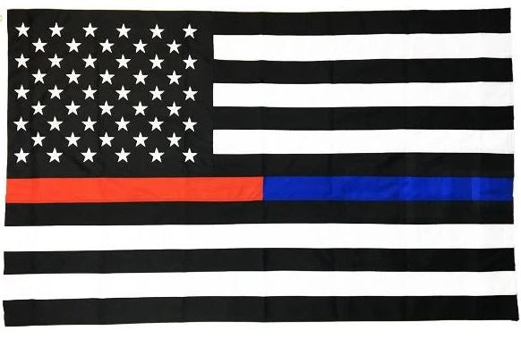 Thin Dual Line Sewn and Embroidered American Flag - 3 x 5 Feet