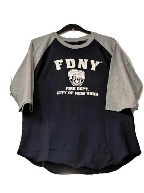 Officially Licensed FDNY Distressed Baseball T-Shirt | Grey/Navy