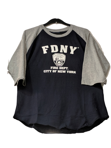 Copy of Officially Licensed FDNY Distressed Baseball T-Shirt | Grey/Navy