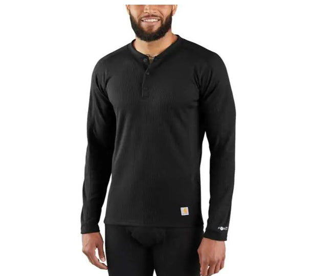 Carhartt Midweight Basic Thermal Long Seeve 3 Button Henley  | Black