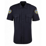 Exclusive NYPD Short Sleeve Power Stretch Shirt w Zipper & Patches