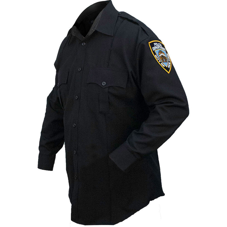 Poly/Cotton NYPD Women's Long Sleeve Shirt with patches
