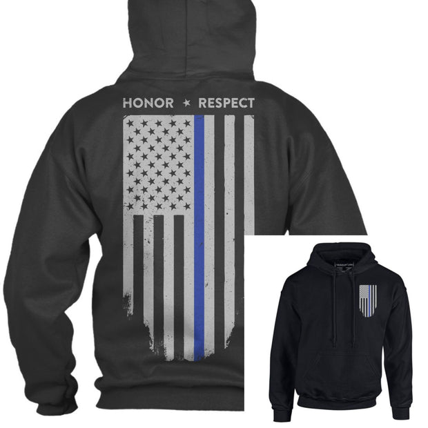 "Thin Blue Line ""HONOR AND RESPECT"" American Flag Hoodie"