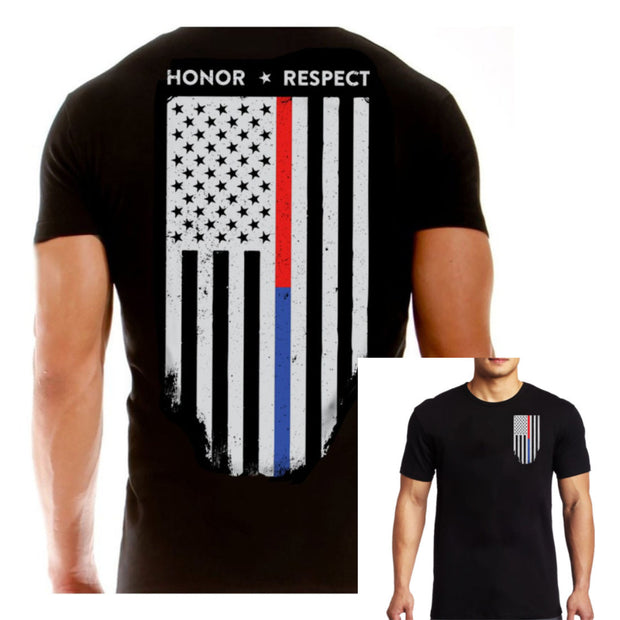 "Thin Blue Line ""HONOR RESPECT BLUE/RED LINE"" T-Shirt"
