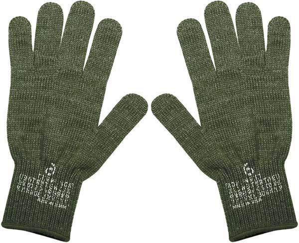 Wool Glove Liners | Green & Black