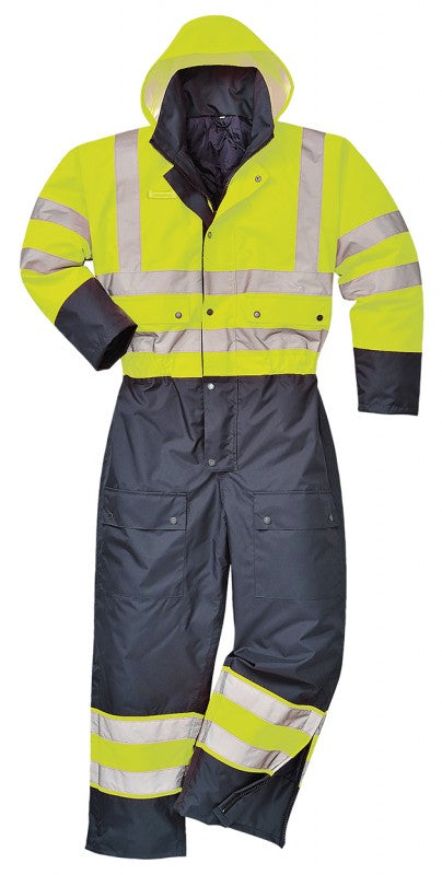 HI Vis Contrast Insulated Waterproof Coverall Lined