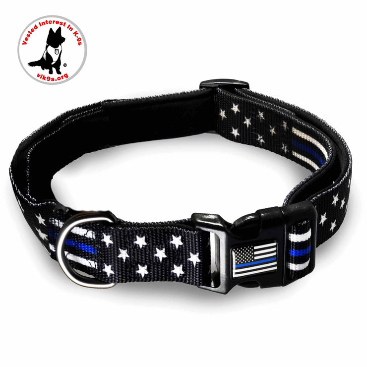 Thin Blue Line Stars and Stripes Dog Collar | Multiple Sizes