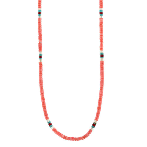 Pink Coral Heishi Beaded Necklace