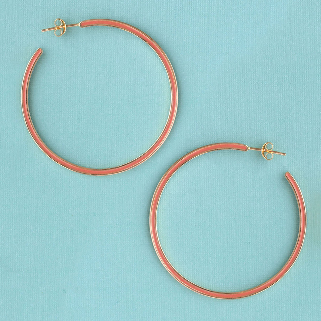 Enamel Hoop Earring Large