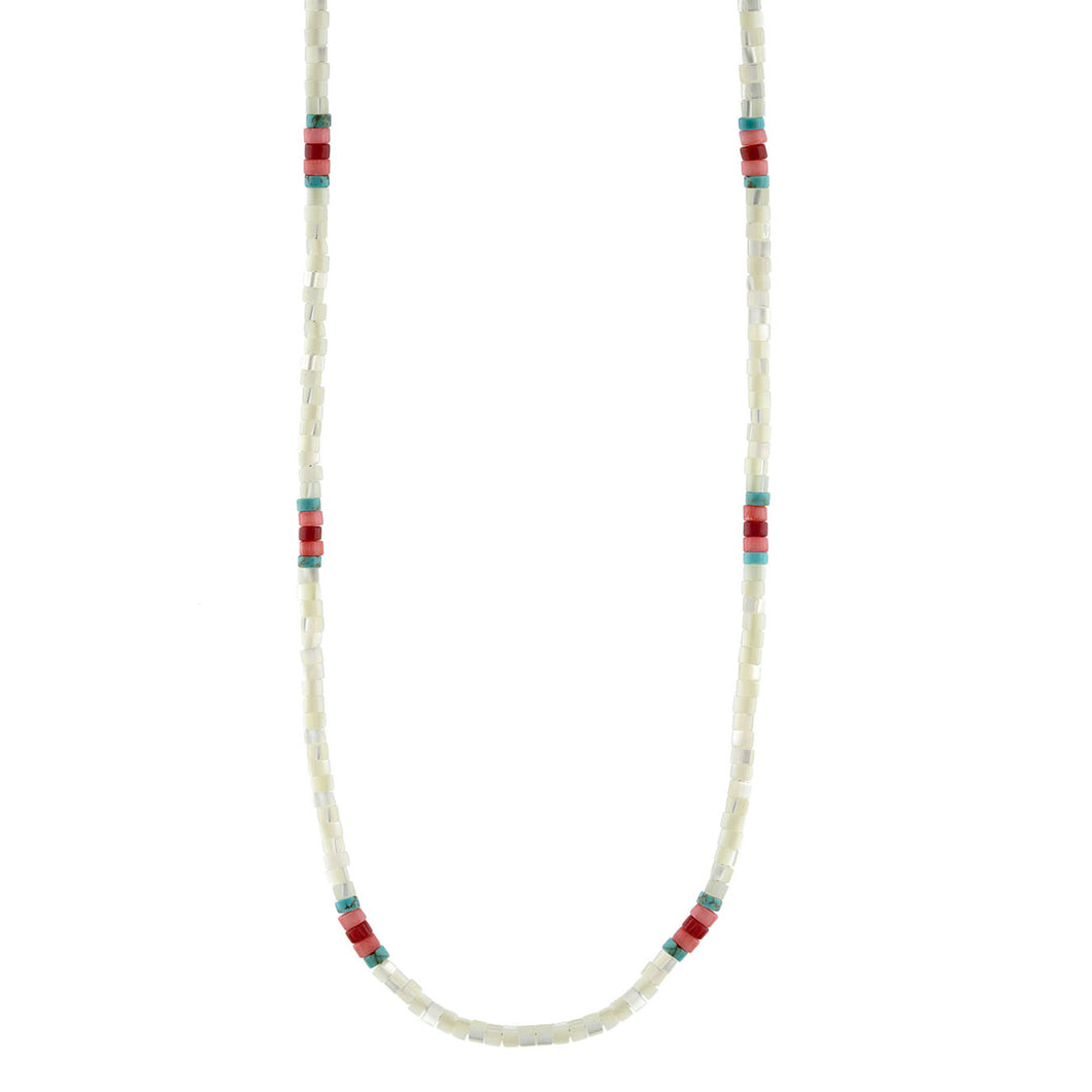 Mother of Pearl Heishi Beaded Necklace