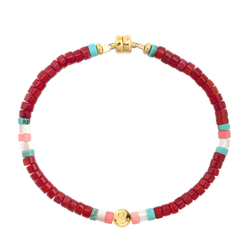 Red Coral Heishi Smiley Beaded Bracelet