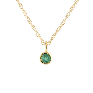 Gemstone Charm Necklace - Emerald