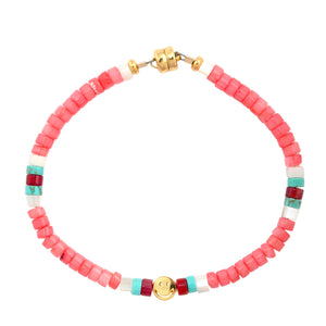 Pink Coral Heishi Smiley Beaded Bracelet