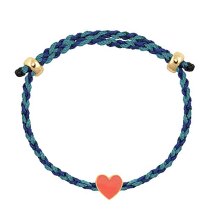 Heart Enamel Charm Adjustable Rope Bracelet