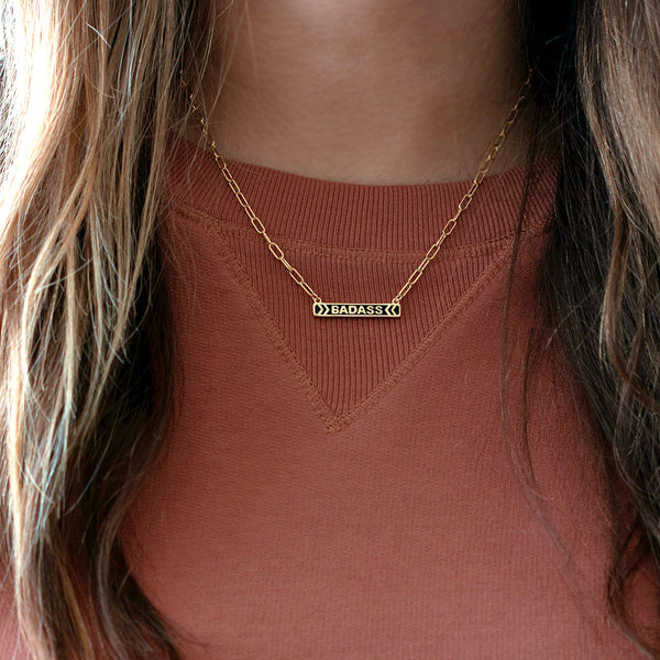 Badass Enamel Charm Necklace with Drawn Cable Chain