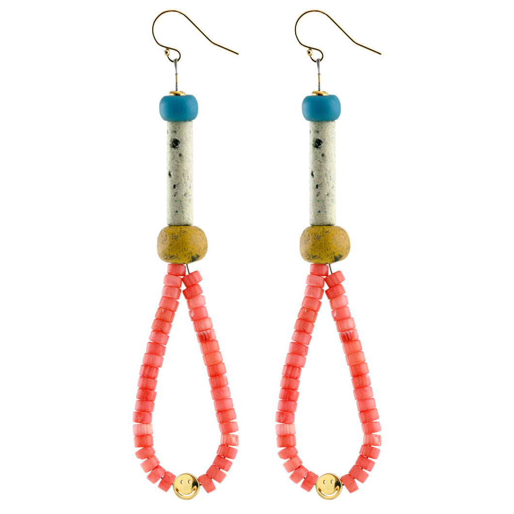 Pink Coral Heishi Teardrop Smiley Earrings