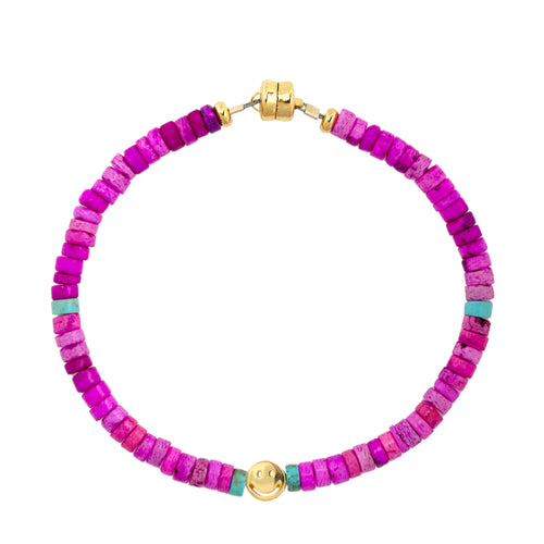 Fuchsia Shell Heishi Smiley Beaded Bracelet