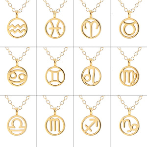 Zodiac Outline Charm Necklace 12 Pack