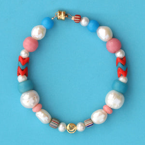 Freshwater Pearl and African Trade Bead Smiley Bracelet