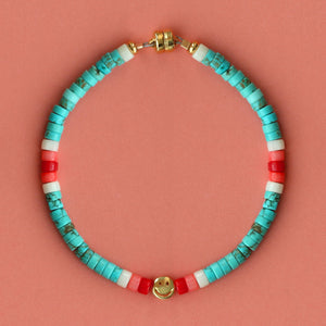 Turquoise Heishi Smiley Beaded Bracelet